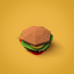 Fast food concept. Burger from cardboard on yellow background. Cartoon food product packaging. 3D model render