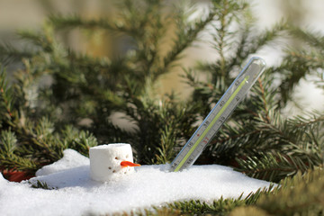 climatic changes in global warming/ old thermometer and melted snowman on a spring sunny day