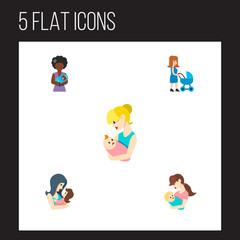 Icon flat mother set of parent, newborn baby, mother and other vector objects. Also includes baby, mother, parent elements.