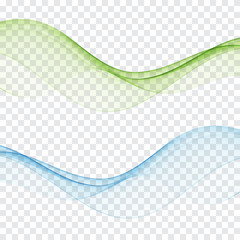set of abstract color wave smoke transparent blue green wavy design