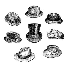 Hats collection, with Fedora, Homburg hat, Bowler hat, cowboy hat, Porkpie hat, top hat, Boater, Campaign hat, Stingy Brim. Hand drawn vector Man's Retro Hats