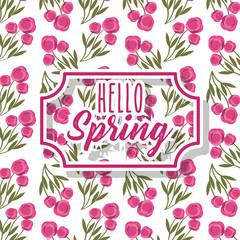 vintage label hello spring greeting card floral decoration white background vector illustration
