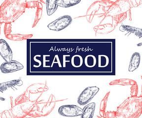 Vintage seafood frame vector illustration. Hand drawn with ink.