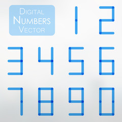 Digital number collection in transparent blue design. Vector illustration of digital numbers from 0 to 9 in blue color.