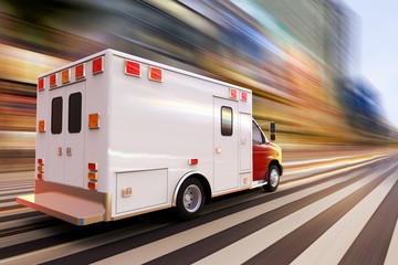 3D rendering of an ambulance at high speed