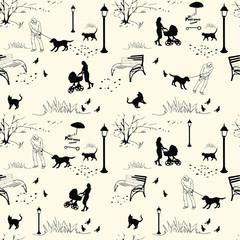city park, seamless pattern
