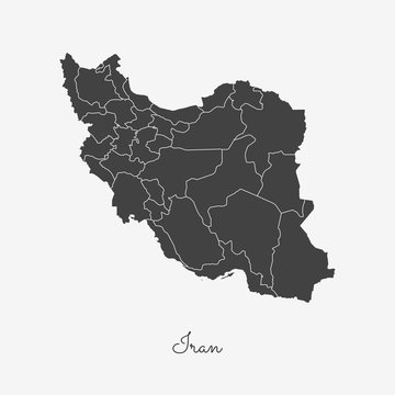 Iran region map: grey outline on white background. Detailed map of Iran regions. Vector illustration.