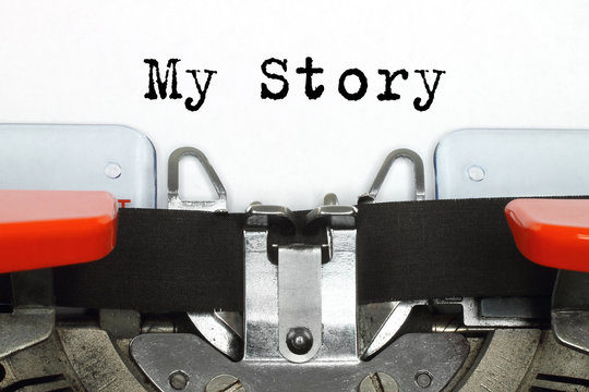 Part of typing machine with typed My Story words