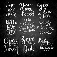 Set of hand drawn vector lettering phrases. Modern motivating calligraphy decor for wall, poster, prints, cards, t-shirts and other