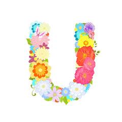 Romantic letter of meadow flowers and butterflies U