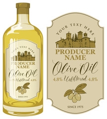 Vector label for extra virgin olive oil with calligraphic handwritten inscription and with the image of the rural Italian landscape in retro style. Template label for olive oil on glass bottle