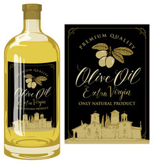 Vector label for extra virgin olive oil with handwritten calligraphic inscription, olive sprig with green olives and rural Italian landscape on black background. Template label on glass bottle