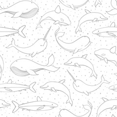 Vector seamless pattern with whale, shark, narwhal and dolphin contours on the polka dot white background. Sea creatures and marine life backdrop.