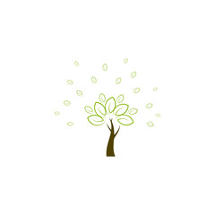 Green tree logo, icon vector design element, bio, eco concept
