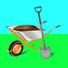 garden cart and shovel Isolated on background