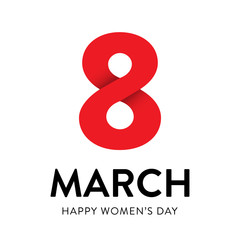 Square vector greeting cart for Women's Day
