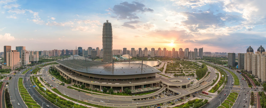modern buildings in Zhengzhou east new district at twilight