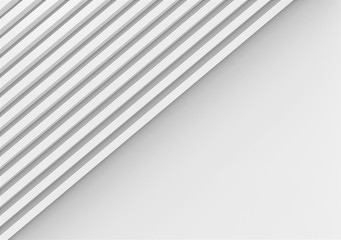 3d rendering. abstract parallel White long regtangle bars wall on copy space gray background.