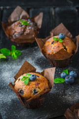 Homemade delicious chocolate cupcakes with fresh berries on top