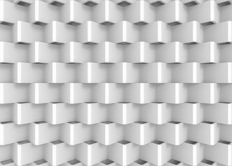 3d rendering. top view of Abstract White Zigzag panels wall background.