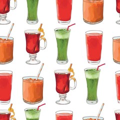 beverage vector seamless pattern with fresh juices