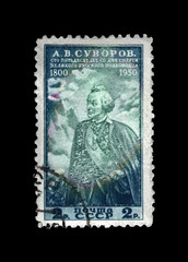 Alexander Suvorov (1730-1800), famous russian military commander, marshal, Alps mountain, circa 1950. canceled vintage post  stamp printed in USSR  isolated on black background.