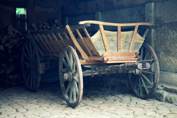 old vintage hay wagon in barn