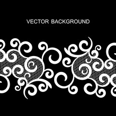 vector background with lace, black and white