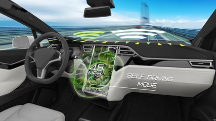 Interior of Autonomous Car Running in Self Driving Mode