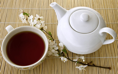 White teapot and Tea in a cup . cherry blossom branch   on a bamboo napkin.