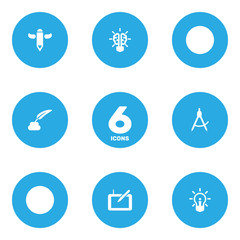 Set of 6 constructive icons set. Collection of writing, brain, inkwell with pen and other elements.