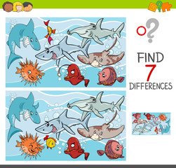 find differences with fish sea life characters