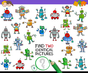 find two identical robots educational activity