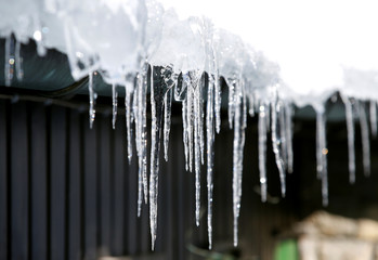 Icicles are seen on a roof in Grainau