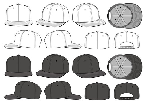 SNAPBACK CAP fashion flat technical drawing template