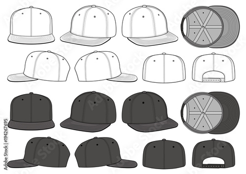 SNAPBACK CAP vector illustration flat sketches template\