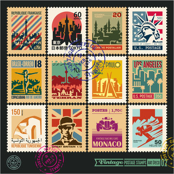 postage stamps, cities of the world, vintage travel labels and badges set, art deco style vector posters collection, seal and postmark design templates set 2