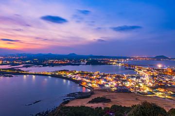 Sunset at Jeju Do Seongsan Ilchulbong , Jeju Island at Night, South Korea.