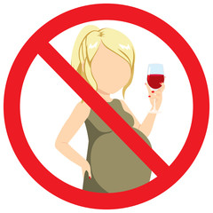 Faceless pregnant woman with red wine glass sign prohibition drink alcohol bad habit concept