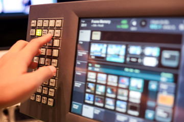 touch screen monitor of Switcher buttons in studio TV station, Audio and Video Production Switcher of Television Broadcast.