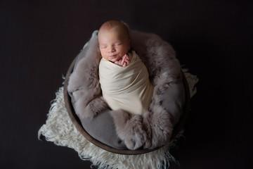 Stock photo of beautiful newborn baby sleeping in cute props