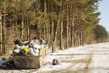 Garbage waste in park full of all sort of trash