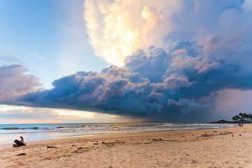 Ahungalla Beach, Sri Lanka - Weather phenomenon during sunset at the beach of Ahungalla