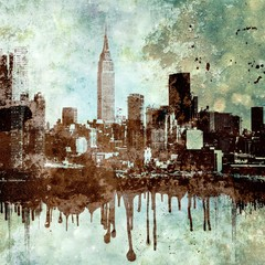 Grunge textured New York city skyline with dripping and copy space.