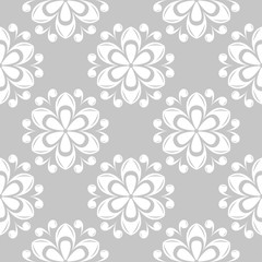 White floral seamless pattern on gray background