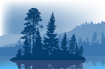 blue fir trees on small island in forest lake
