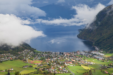 Village of Vik and the Sognefjord