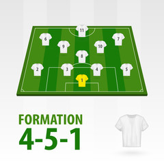 Football players lineups, formation 4-5-1. Soccer half stadium.