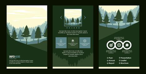 Forest brochure infographic vector illustration graphic design