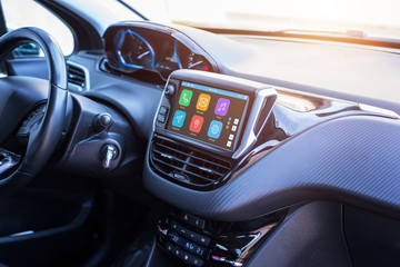 Modern car infotainment system with phone, messages, music, navigation, journey apps.